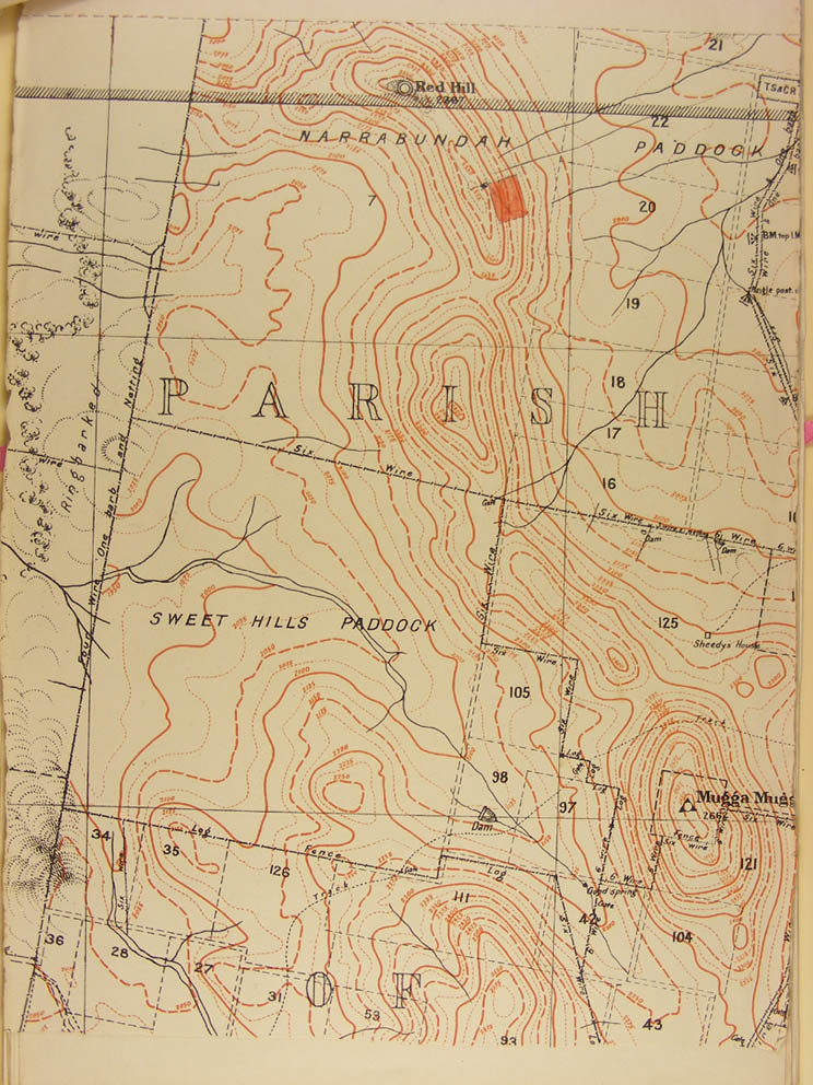 Map of Red Hill in 1917 showing rectangular callistemon planting adjacent to the summit cafe