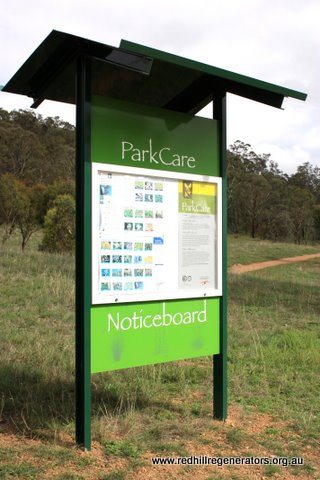 Parkcare installed community notice boards on Red Hill at the Mugga Way car park in March 2010