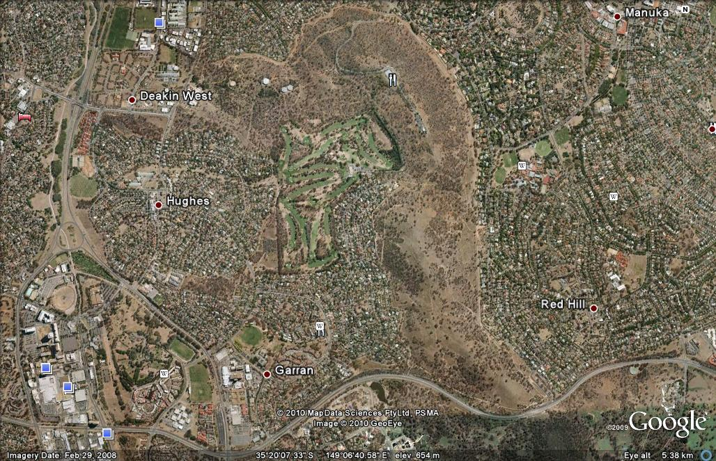 Google Earth map of Red Hill Nature Reserve and adjacent Canberra suburns