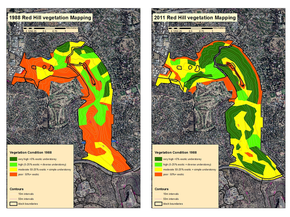 Vegetation Survey on Red Hill 1988 and 2011